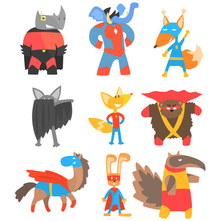 Animas Disguised As Superheroes Set Of Geometric Style Stickers. Comic Illustrations In Flat Stylized Design Isolated On White Background. Illustration