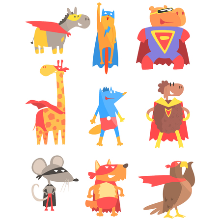 super dog: Animas Dressed As Superheroes Set Of Geometric Style Stickers. Comic Illustrations In Flat Stylized Design Isolated On White Background.