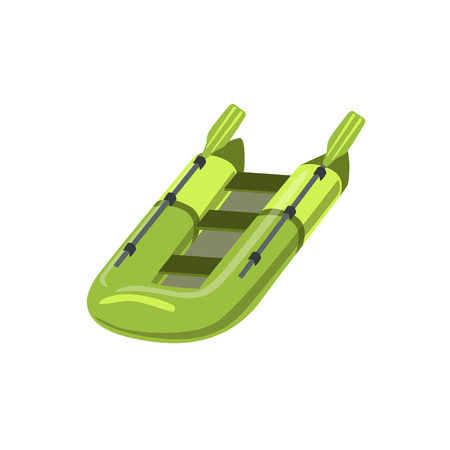peddle: Green Inflatable Raft Type Of Boat Icon. Simple Childish Vector Illustration Isolated On White Background Illustration