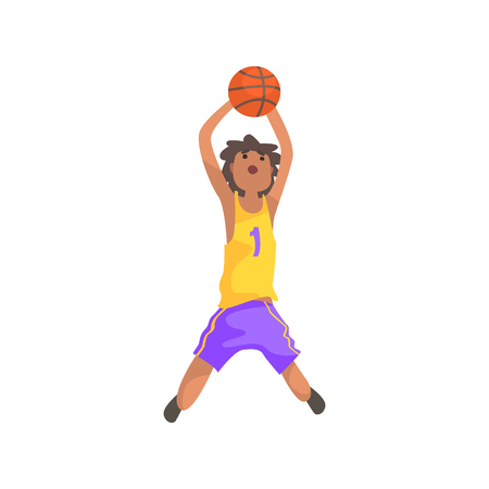 Basketball Player Jumping And Throwing Action Sticker. Childish Cartoon Character In Cute Design Isolated On White Background Illustration