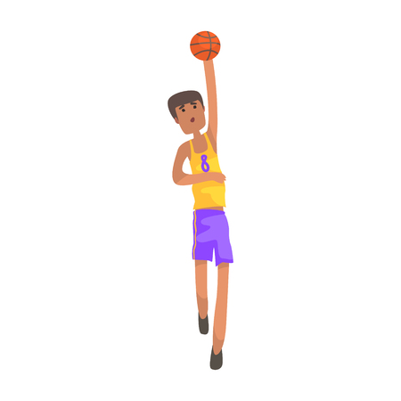Basketball Player With The Ball Action Sticker. Childish Cartoon Character In Cute Design Isolated On White Background Illustration