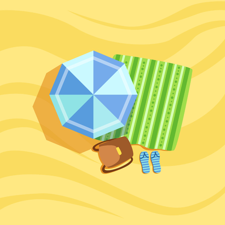 from above: Backpack, Flip-Flops And Umbrella Spot On The Beach Composition. Place On The Sand With Vacation Attributes From Above Bright Color Vector Illustration.