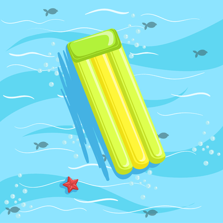 from above: Green Inflatable Matrass With Blue Sea Water On Background. Beach Vacation Related Illustration Drawn From Above In Simple Vector Cartoon Style.