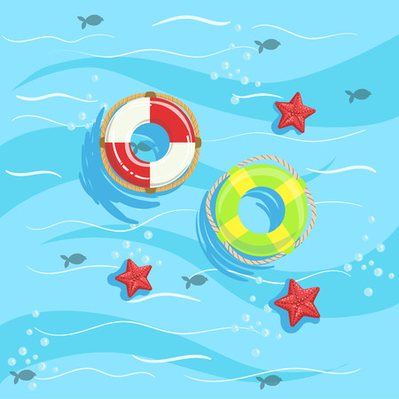 Two Ring Buoys With Blue Sea Water On Background. Beach Vacation Related Illustration Drawn From Above In Simple Vector Cartoon Style. Illustration