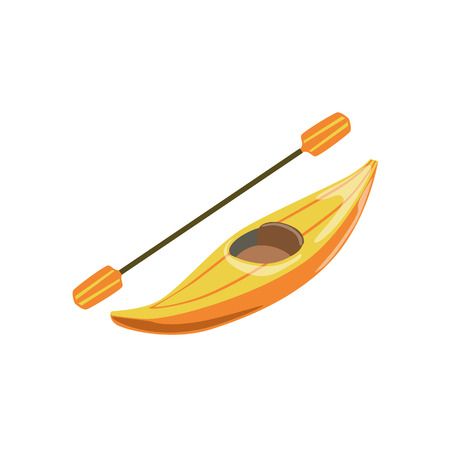 peddle: Yellow Plastic One Person Canoe Type Of Boat Icon. Simple Childish Vector Illustration Isolated On White Background