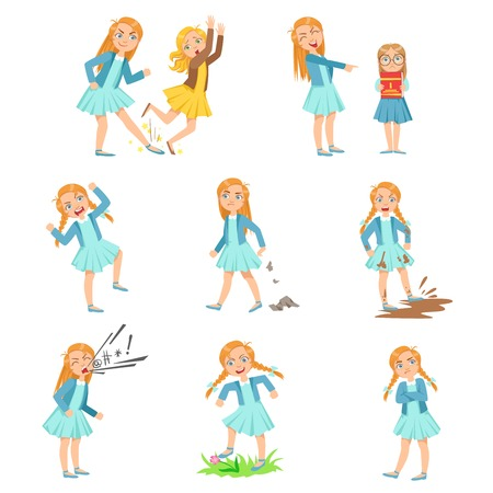 delinquent: Older Girl Bullying Young Children And Behaving Badly Set. Bright Color Isolated Vector Drawings In Simple Cartoon Design On White Background