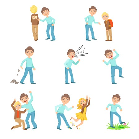hyperactive: Older Boy Bullying Young Children And Behaving Badly Set. Bright Color Isolated Vector Drawings In Simple Cartoon Design On White Background
