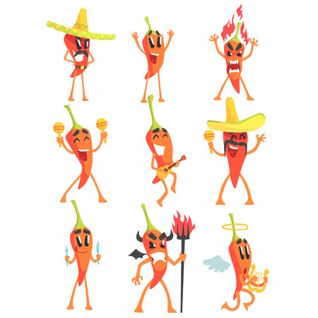 Chili Pepper Cartoon Character Emotion Illustrations Set.. Flat Comic Drawings Of Bright Color Isolated On White Background.