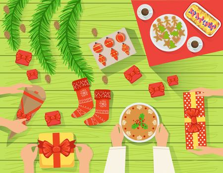 traditionally: Family At The Traditionally Served Christmas Table View From Above. Simple Bright Color Vector Illustration With Only Hands Visible, Presents And Holiday Food.
