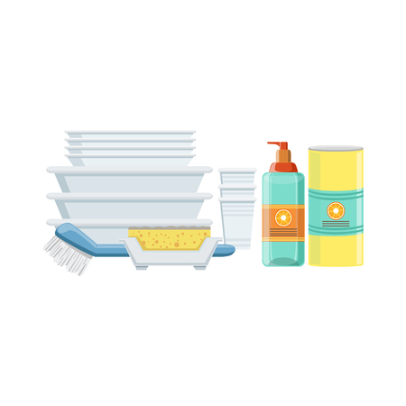 clean up: Dishwashing Household Equipment Set. Clean Up Special Objects And Chemicals Composition Of Realistic Objects. Flat Vector Drawing On White Background