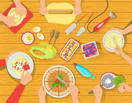 People Cooking Sweet Pastry Together View From Above. Simple Bright Color Vector Illustration With Only Hands Visible and Different Kitchen Attributes And Cooking Ingredients.