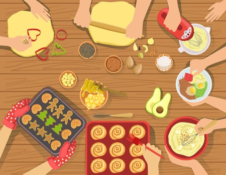view from above: People Cooking Pastry And Other Food Together View From Above. Simple Bright Color Vector Illustration With Only Hands Visible and Different Kitchen Attributes And Cooking Ingredients.