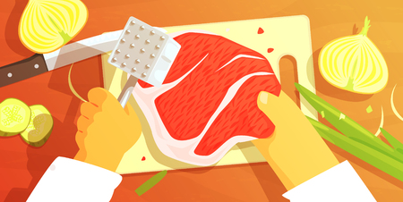 Hands Preparing Meat Colorful Illustration From Above. Cooking Process Flat Bright Drawing In Fun Cartoon Vector Design. Illustration