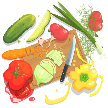 Cutting Vegetables Illustration, With Cutting Board And Fresh Crops. Food Preparation Process From Above In Simple Bright Colorful Design On White Background.