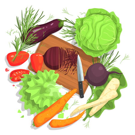 from above: Cutting Vegetables Drawing, With Cutting Board And Fresh Crops. Food Preparation Process From Above In Simple Bright Colorful Design On White Background. Illustration