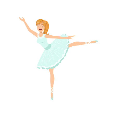 Balleria In Blue Tutu Performing. Flat Simplified Childish Style Classic Dance Position Illustration Isolated On White Background.