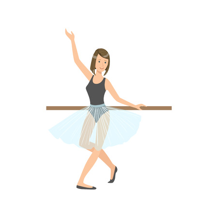 Girl In Blue Skirt In Ballet Dance Class Exercising With The Pole. Flat Simplified Childish Style Classic Dance Position Illustration Isolated On White Background.