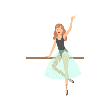 pointes: Girl With Loose Hair In Ballet Dance Class Exercising With The Pole. Flat Simplified Childish Style Classic Dance Position Illustration Isolated On White Background.