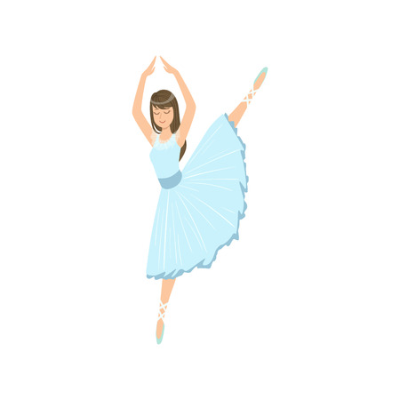 Balleria In Blue Dress Doing Leg Swing Performing. Flat Simplified Childish Style Classic Dance Position Illustration Isolated On White Background. Illustration
