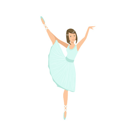 Balleria In Light Dress Performing. Flat Simplified Childish Style Classic Dance Position Illustration Isolated On White Background. Illustration
