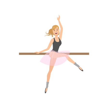 rehearsal: Girl In Pointers In Ballet Dance Class Exercising With The Pole. Flat Simplified Childish Style Classic Dance Position Illustration Isolated On White Background.