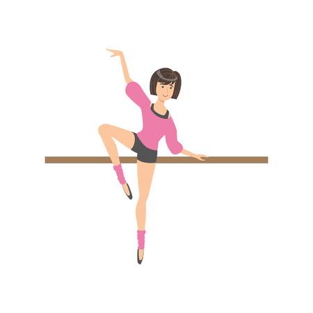 danza clasica: Muchacha Cortocircuitos Y la blusa rosada En la danza del ballet Clase Ejercicio con el polo. Posición plana simplificado Infantil Baile clásico del estilo de ilustración sobre fondo blanco. Vectores