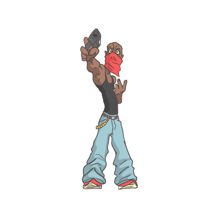 Membre de gang criminel dangereux Outlined Comics style Illustration. Adulte effrayant Outlaw autocollant cool Stylisé isolé sur fond blanc.