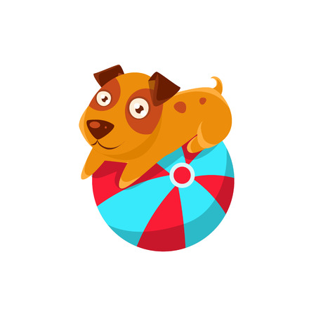 inflatable ball: Puppy Balancing On The Inflatable Ball. Dog Everyday Activity Childish Drawing Isolated On White Background. Funny Animal Colorful Vector Sticker.