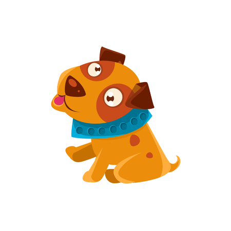 blue collar: Silly Puppy With The Blue Collar Ready To Go For A Walk. Dog Everyday Activity Childish Drawing Isolated On White Background. Funny Animal Colorful Vector Sticker.