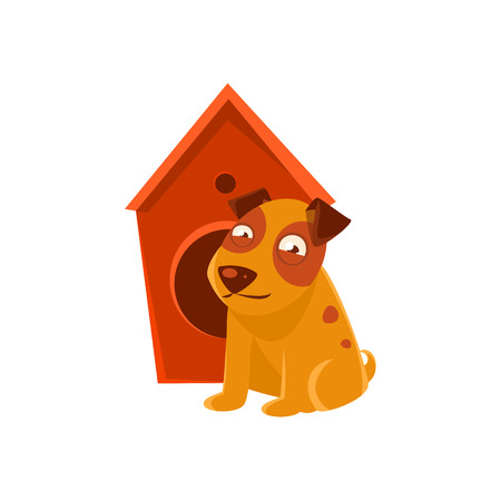 kennel: Smiling Puppy Next To Wooden Kennel. Dog Everyday Activity Childish Drawing Isolated On White Background. Funny Animal Colorful Vector Sticker. Illustration