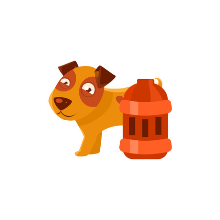 red lantern: Puppy Next To Vintage Red Lantern. Dog Everyday Activity Childish Drawing Isolated On White Background. Funny Animal Colorful Vector Sticker.