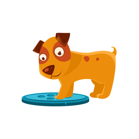 stepping: Curious Puppy Stepping On Trapdoor. Dog Everyday Activity Childish Drawing Isolated On White Background. Funny Animal Colorful Vector Sticker.