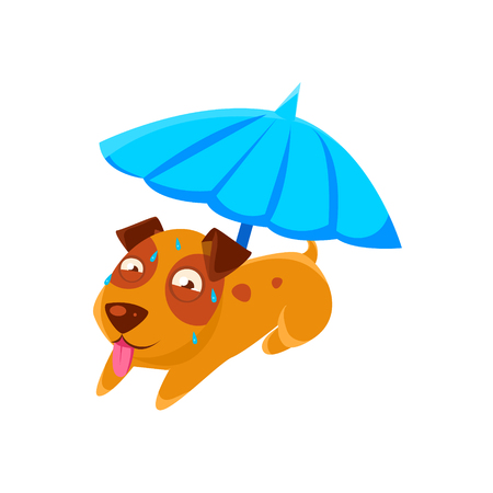 sweating: Puppy Sweating Under Umbrella On The Beach. Dog Everyday Activity Childish Drawing Isolated On White Background. Funny Animal Colorful Vector Sticker. Illustration