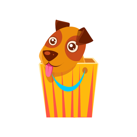 hiding: Puppy Hiding In Shopping Bag. Dog Everyday Activity Childish Drawing Isolated On White Background. Funny Animal Colorful Vector Sticker.