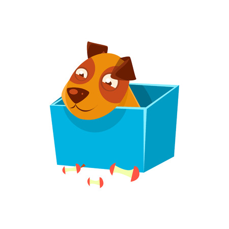 Puppy Hiding In Box Surrounded By Apple Cores. Dog Everyday Activity Childish Drawing Isolated On White Background. Funny Animal Colorful Vector Sticker.