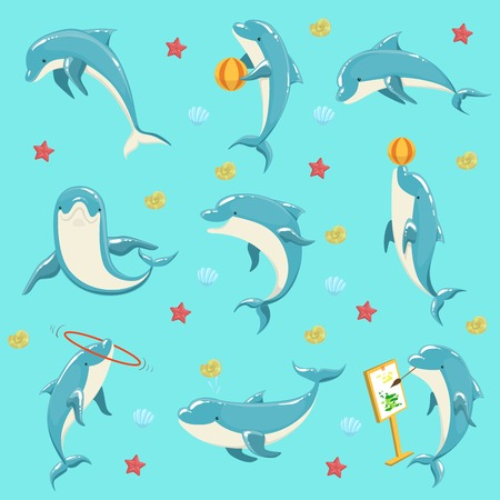 hulahoop: Bottlenose Dolphin Performing Tricks Set of Illustrations. Collection Of Marine Animal Stickers In Simple Realistic Style On Blue Background.