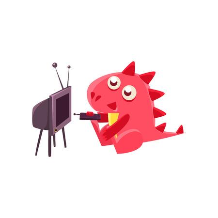 赤いドラゴンを見てテレビのイラスト。白い背景に分離された愚かな幼稚な図面。面白い幻想的な動物のカラフルなベクトルのステッカー。