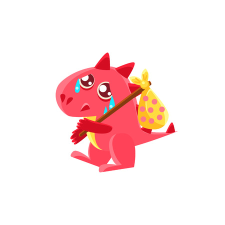 Red Dragon Leaving WIth Sack On Stick Illustration. Silly Childish Drawing Isolated On White Background. Funny Fantastic Animal Colorful Vector Sticker. Illustration