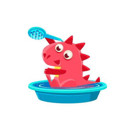 Red Dragon Taking A Bath. Silly Childish Drawing Isolated On White Background. Funny Fantastic Animal Colorful Vector Sticker.