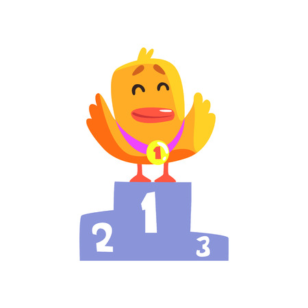 Duckling Champion Cute Character Sticker. Little Duck In Funny Situation Childish Cartoon Graphic Illustration On White Background.