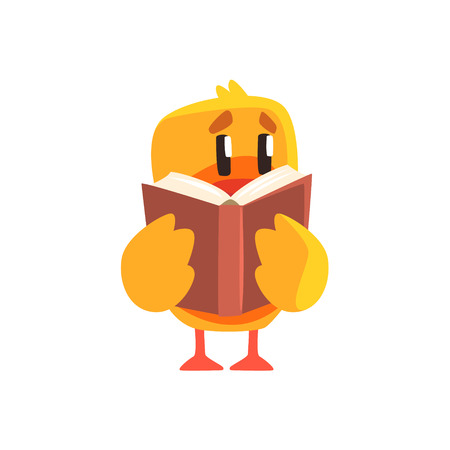 bookworm: Duckling Reading A Book Cute Character Sticker. Little Duck In Funny Situation Childish Cartoon Graphic Illustration On White Background. Illustration