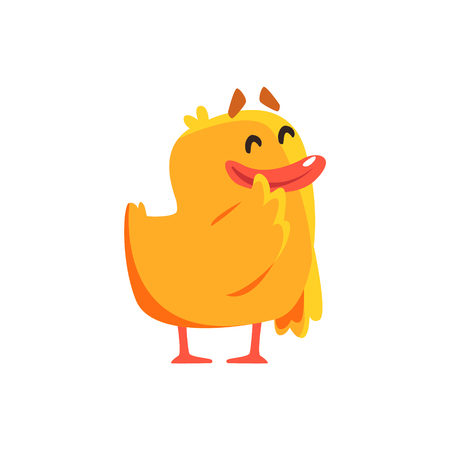 Happy Duckling Cute Character Sticker. Little Duck In Funny Situation Childish Cartoon Graphic Illustration On White Background. Illustration