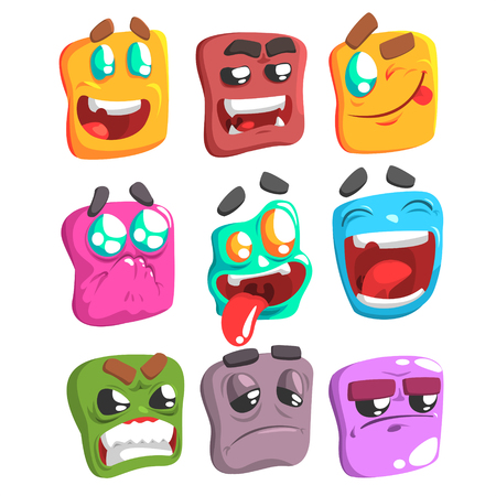 begging: Square Face Colorful Emoji Set Od Isolated Icons On White Background. Cartoon Simple Style Vector Emoticon Collection Of Expressions.