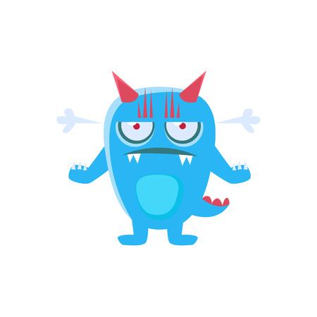 Angry Blue Monster met hoorns en stekelige staart. Dwaze kinderachtige tekening geïsoleerd op een witte achtergrond. Grappige fantastische dieren kleurrijke Vector Sticker. Stock Illustratie