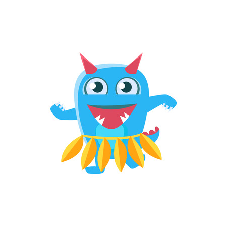 spiky: Blue Monster With Horns And Spiky Tail Dancing Hula. Silly Childish Drawing Isolated On White Background. Funny Fantastic Animal Colorful Vector Sticker.