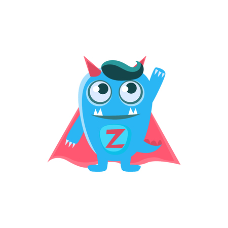 spiky: Superhero Blue Monster With Horns And Spiky Tail. Silly Childish Drawing Isolated On White Background. Funny Fantastic Animal Colorful Vector Sticker.