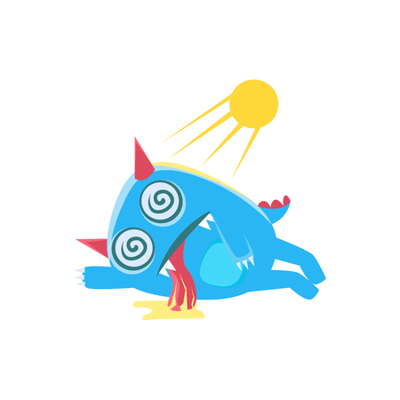 Blue Monster With Horns And Spiky Tail Heat Stroken. Silly Childish Drawing Isolated On White Background. Funny Fantastic Animal Colorful Vector Sticker.