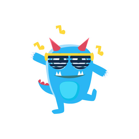 spiky: Blue Monster With Horns And Spiky Tail Dancing In Club. Silly Childish Drawing Isolated On White Background. Funny Fantastic Animal Colorful Vector Sticker.
