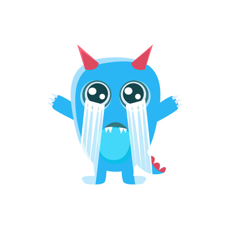 Blue Monster With Horns And Spiky Tail Crying Out Loud. Silly Childish Drawing Isolated On White Background. Funny Fantastic Animal Colorful Vector Sticker. Illustration
