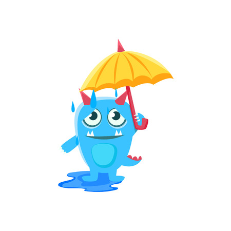 spiky: Blue Monster With Horns And Spiky Tail With Umbrella Under Rain. Silly Childish Drawing Isolated On White Background. Funny Fantastic Animal Colorful Vector Sticker.